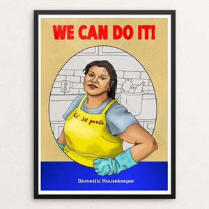 "Domestic Housekeeper by Daisy Patton 12"" by 16"" Print / Framed Print We Can Do It!"