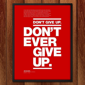 "Don't Ever Give Up by Andrew Lynne 18"" by 24"" Print / Framed Print Transcend - Moments in Sports that Changed the Game"