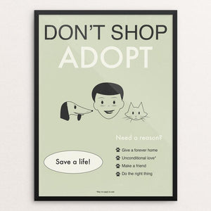 "Don't Shop-Adopt II by Meredith Watson 12"" by 16"" Print / Framed Print Creative Action Network"
