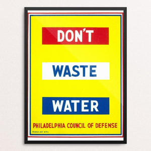 "Don't Waste Water by Raymond Wilcox 12"" by 16"" Print / Framed Print WPA Federal Art Project"