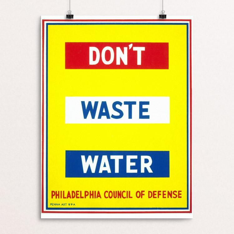 "Don't Waste Water by Raymond Wilcox 12"" by 16"" Print / Unframed Print WPA Federal Art Project"