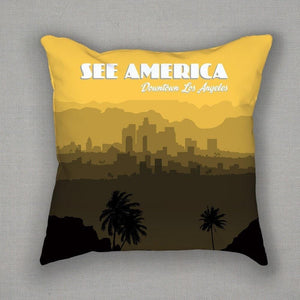 Downtown Los Angeles Pillow by Lana Limón
