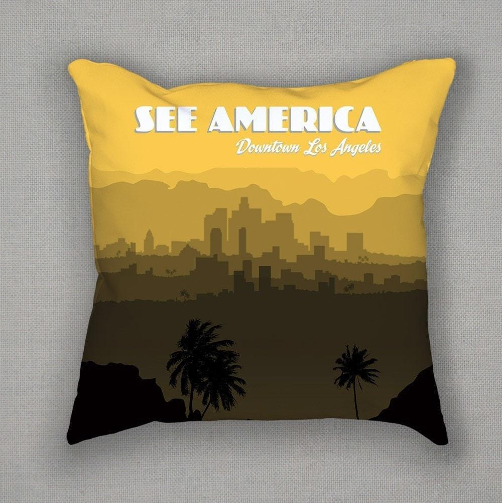 Downtown Los Angeles Pillow by Lana Limón Pillow See America