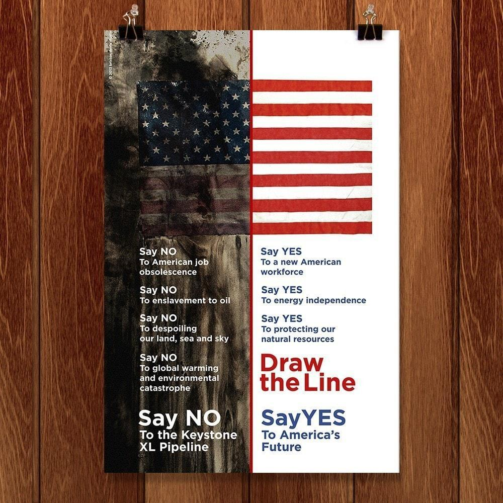 "Draw the Line by Brixton Doyle 12"" by 18"" Print / Unframed Print Climate Victory"