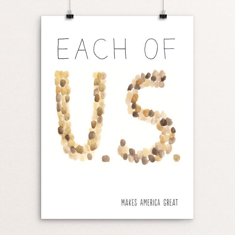 "Each of U.S. by Crystal Sacca 12"" by 16"" Print / Unframed Print What Makes America Great"
