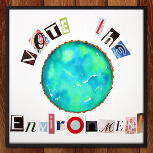 "Earth Collage by Erin Brazill 12"" by 12"" Print / Framed Print Vote the Environment"