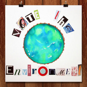 "Earth Collage by Erin Brazill 12"" by 12"" Print / Unframed Print Vote the Environment"
