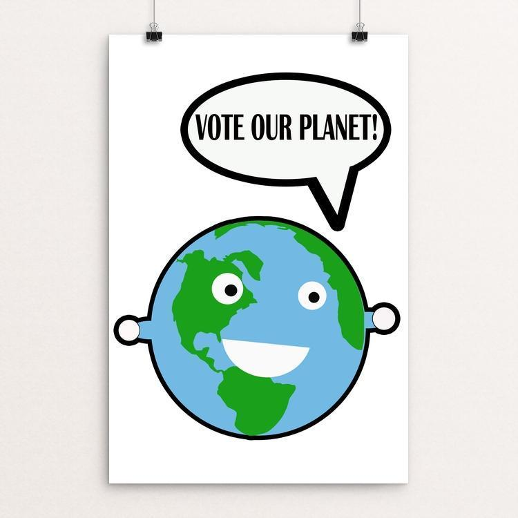 "Earth Logo by Ivan Reyes 12"" by 18"" Print / Unframed Print Vote Our Planet"