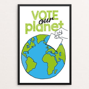 "Earth Vote by Katie Fagan 12"" by 18"" Print / Framed Print Vote Our Planet"