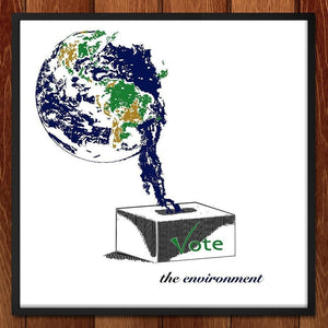 "Earth Vote by Louisa Edwards 12"" by 12"" Print / Framed Print Vote the Environment"