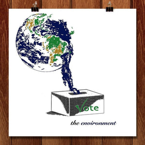 "Earth Vote by Louisa Edwards 12"" by 12"" Print / Unframed Print Vote the Environment"