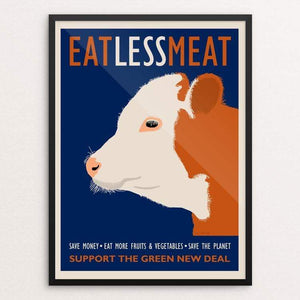 "Eat Less Meat by Lisa Vollrath 18"" by 24"" Print / Framed Print Green New Deal"