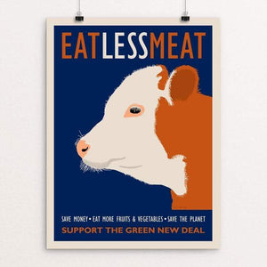 "Eat Less Meat by Lisa Vollrath 18"" by 24"" Print / Unframed Print Green New Deal"