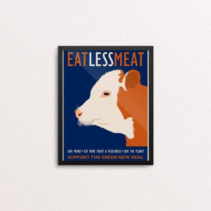 "Eat Less Meat by Lisa Vollrath 8"" by 10"" Print / Framed Print Green New Deal"