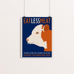 "Eat Less Meat by Lisa Vollrath 8"" by 10"" Print / Unframed Print Green New Deal"