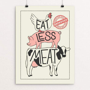 "Eat Less Meat by Sarah Bloom 18"" by 24"" Print / Unframed Print Green New Deal"