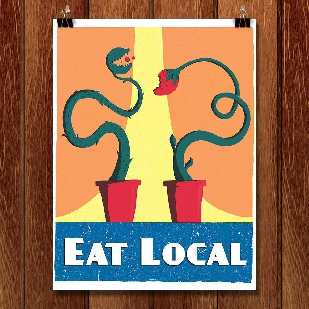 "Eat Local by Ryan Dumas 12"" by 16"" Print / Unframed Print Defend America"