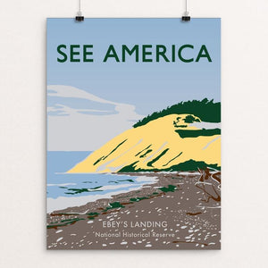 "Ebey's Landing National Historical Reserve by Maya Lewis 18"" by 24"" Print / Unframed Print See America"