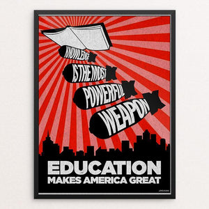 "Education by David Hays 12"" by 16"" Print / Framed Print What Makes America Great"