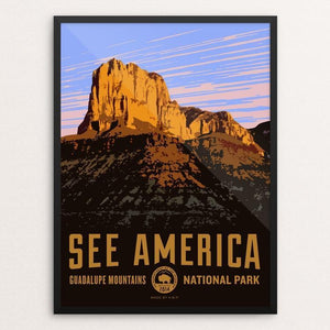 "El Capitan, Guadalupe Mountains National Park by Aaron Bates 12"" by 16"" Print / Framed Print See America"