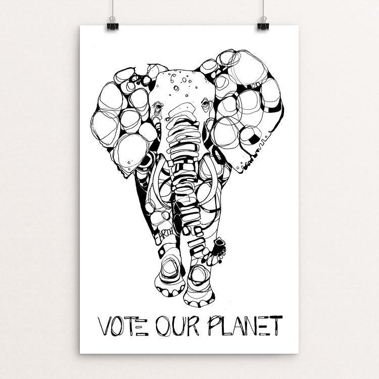"Elephant by Britt Freda 12"" by 18"" Print / Unframed Print Vote Our Planet"