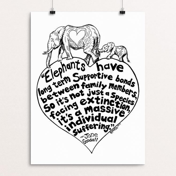"Elephant Family Drawing by Rick Frausto 12"" by 16"" Print / Unframed Print Creative Action Network"