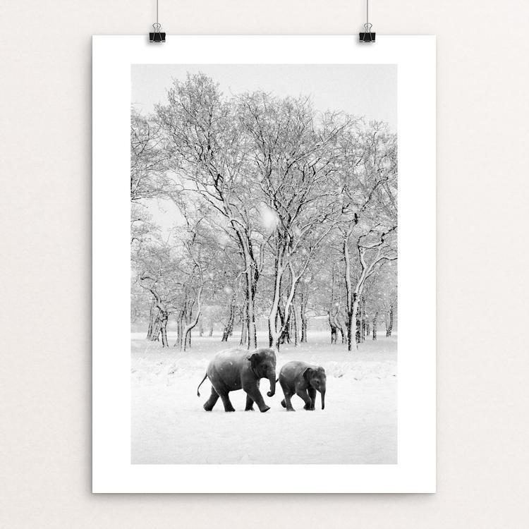 "Elephants in the snow by Richard Alton 12"" by 16"" Print / Unframed Print Creative Action Network"