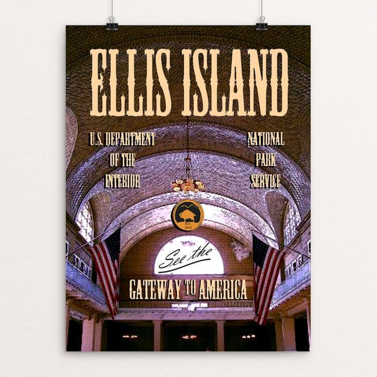 "Ellis Island, Statue of Liberty National Monument by John Lincoln Hallowell 12"" by 16"" Print / Unframed Print See America"