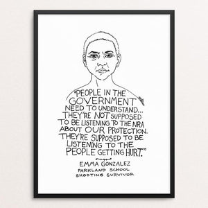 "Emma Gonzalez by Rick Frausto 12"" by 16"" Print / Framed Print Creative Action Network"