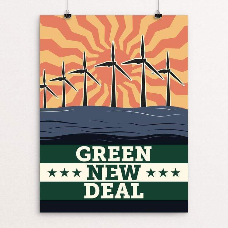 "Energy: Solar, Wind, and Wave by Bradley Abner 18"" by 24"" Print / Unframed Print Green New Deal"