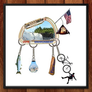 "Environment Keychain by Dacia Hirsch 12"" by 12"" Print / Framed Print Vote the Environment"