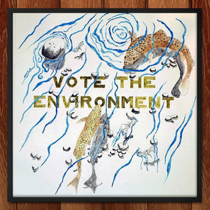 "EnviroTrout by Jake Schutt 12"" by 12"" Print / Framed Print Vote the Environment"