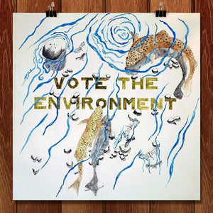 "EnviroTrout by Jake Schutt 12"" by 12"" Print / Unframed Print Vote the Environment"