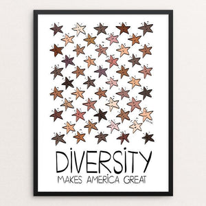"Ethnic Diversity by Sawsan Chalabi 12"" by 16"" Print / Framed Print What Makes America Great"