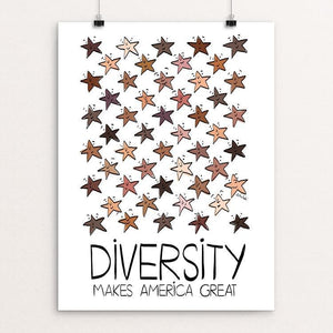 "Ethnic Diversity by Sawsan Chalabi 12"" by 16"" Print / Unframed Print What Makes America Great"