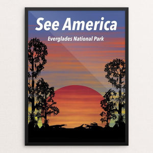 "Everglades National Park See America Post by Junho Park 12"" by 16"" Print / Framed Print See America"
