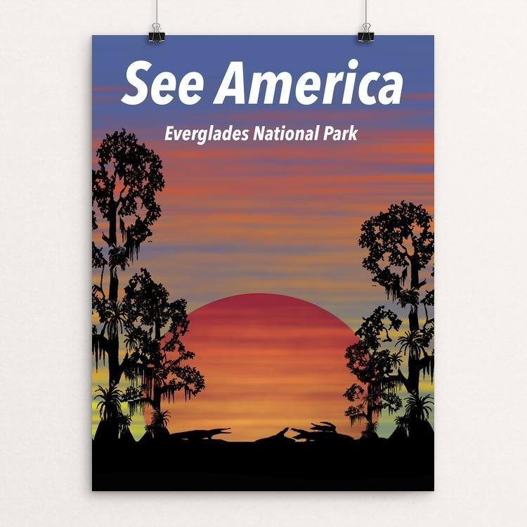 "Everglades National Park See America Post by Junho Park 12"" by 16"" Print / Unframed Print See America"