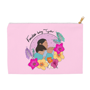 Families Belong Together Accessory Bag by Manuela Guillén 8.5x6 inch w/ White Zipper Tape Accessory Bag Creative Action Network