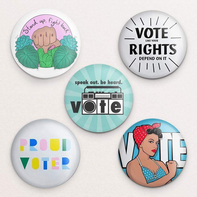 Feminist Vote! Button Variety Pack 3 inch Round Button Buttons We Can Do It!