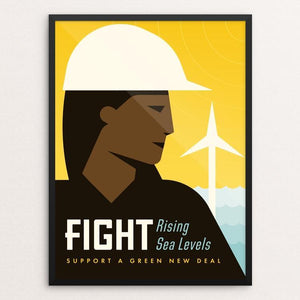 "Fight by Josh DeWare 12"" by 16"" Print / Framed Print Green New Deal"