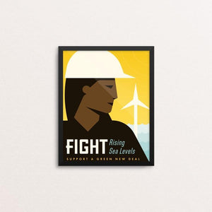 "Fight by Josh DeWare 8"" by 10"" Print / Framed Print Green New Deal"