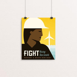 "Fight by Josh DeWare 8"" by 10"" Print / Unframed Print Green New Deal"