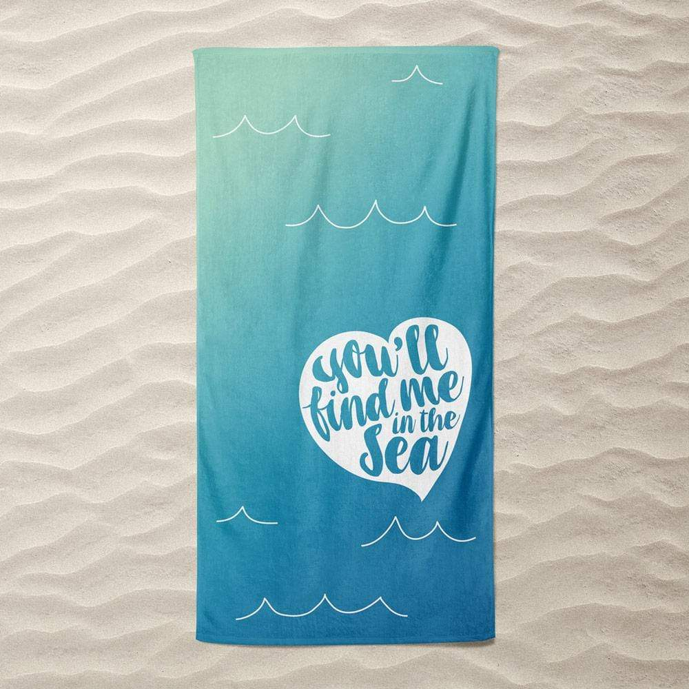 Find Me in the Sea (Heart) by Elizabeth Firmage Beach Towel Ocean Love