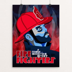 "Firefighters by Trevor Messersmith 12"" by 16"" Print / Unframed Print What Makes America Great"