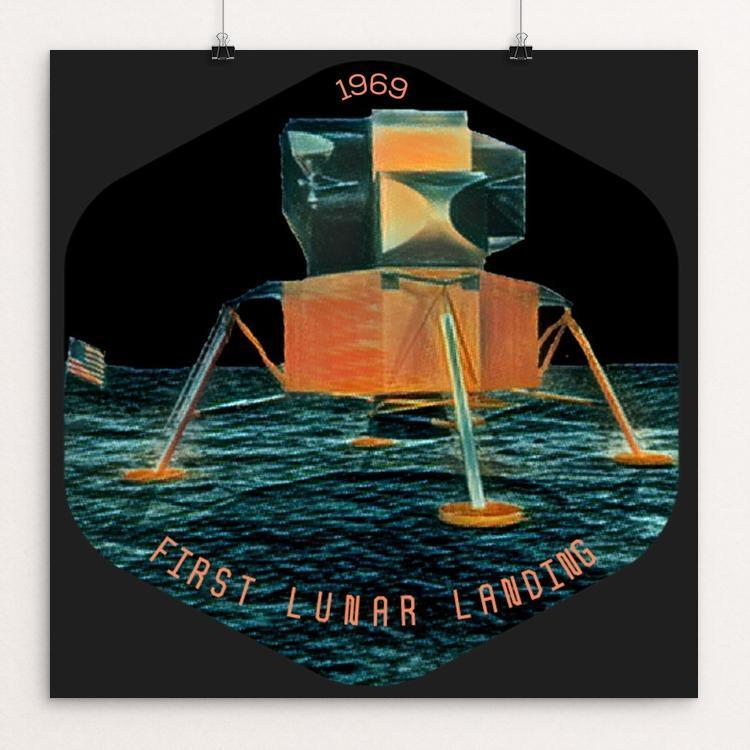 "First Lunar Landing 1969 by Bryan Bromstrup 12"" by 12"" Print / Unframed Print Space Horizons"