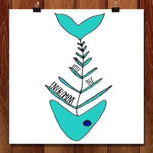 "Fishbone by Allie Cole 12"" by 12"" Print / Unframed Print Vote the Environment"