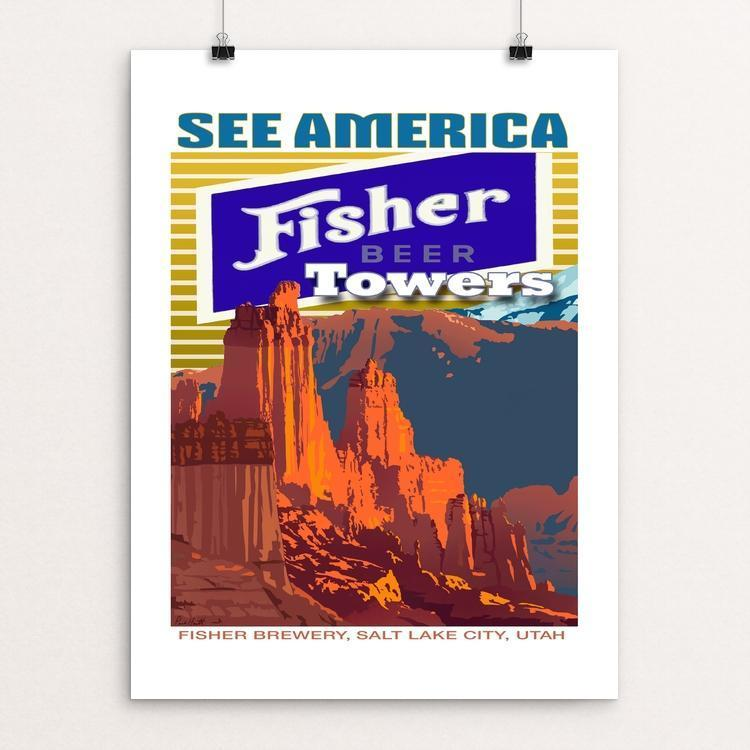 "Fisher Towers Campground and National Scenic Trail and Fisher Brewery by Paul Heath 12"" by 16"" Print / Unframed Print See America"