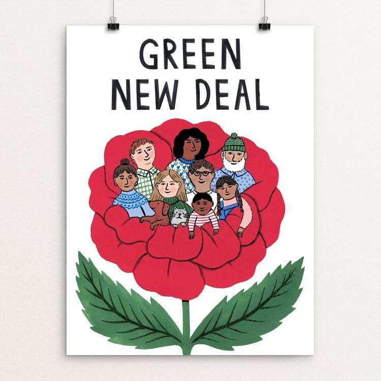 "For the Many by Holly Maguire 18"" by 24"" Print / Unframed Print Green New Deal"