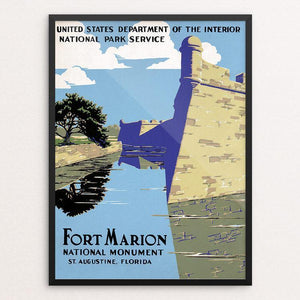 "Fort Marion National Monument, St. Augustine, Florida 12"" by 16"" Print / Framed Print WPA Federal Art Project"