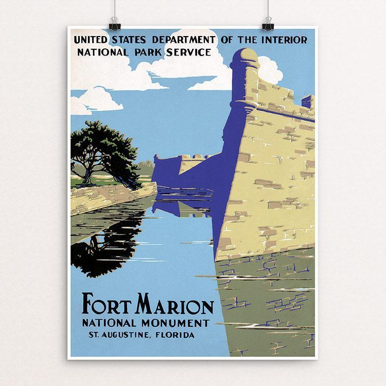 "Fort Marion National Monument, St. Augustine, Florida 12"" by 16"" Print / Unframed Print WPA Federal Art Project"